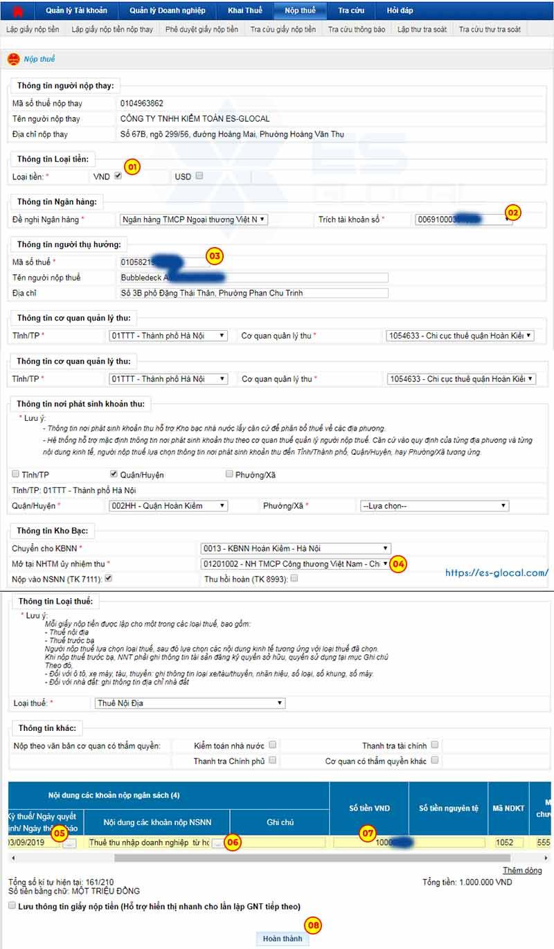 Điền thông tin giấy nộp tiền thuế nhà thầu