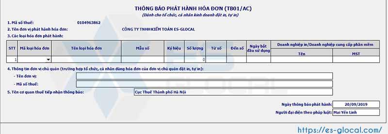 Giao diện thông báo phát hành hóa đơn