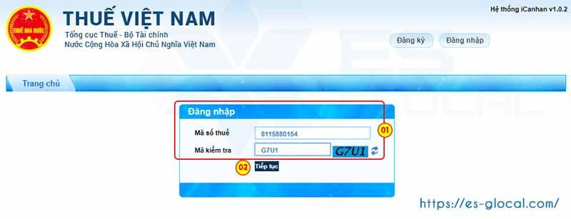 Nhập MST và mã kiểm tra để đăng nhập iCanhan