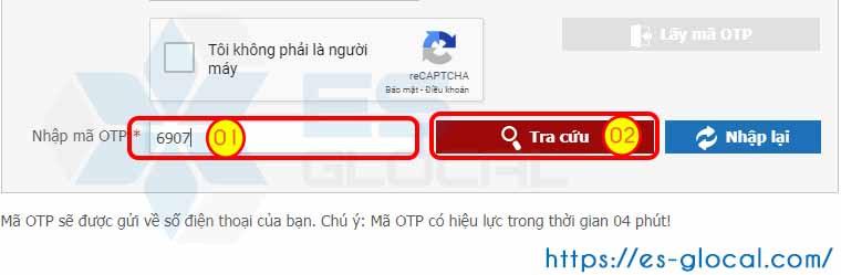 Nhập mã OTP để tra cứu quá trình tham gia BHXH