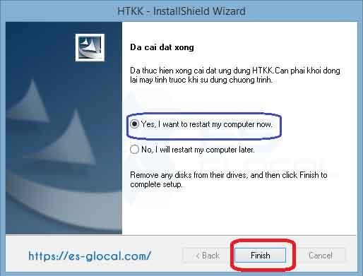 Quá trình cài đặt phần mềm HTKK hoàn thành