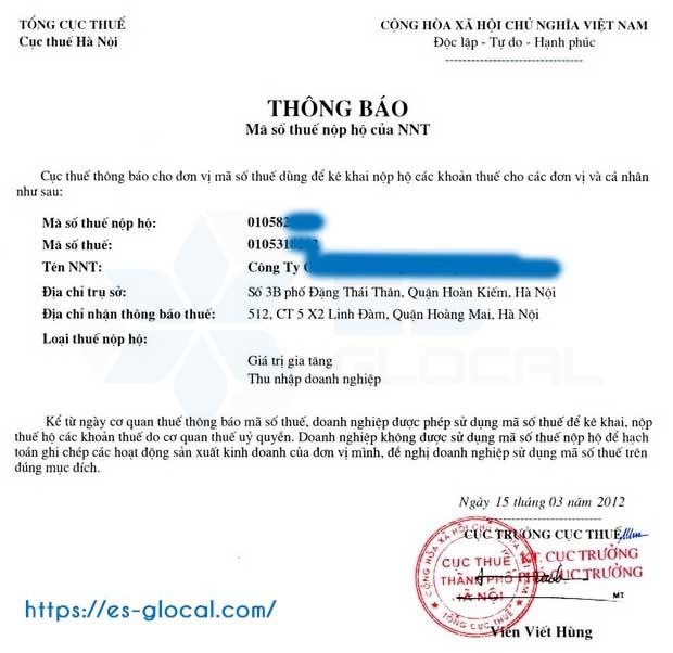 Thông báo mã số thuế nhà thầu nước ngoài