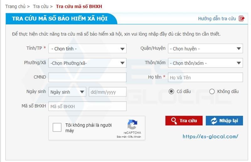 Công tra cứu số sổ bảo hiểm xã hội online