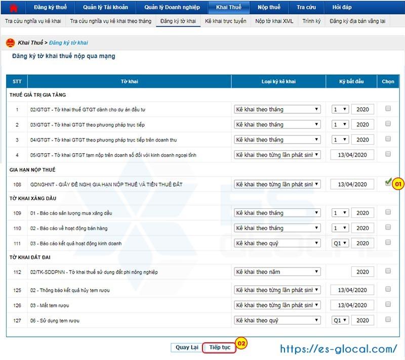 Đăng ký thêm tờ khai gia hạn nộp thuế