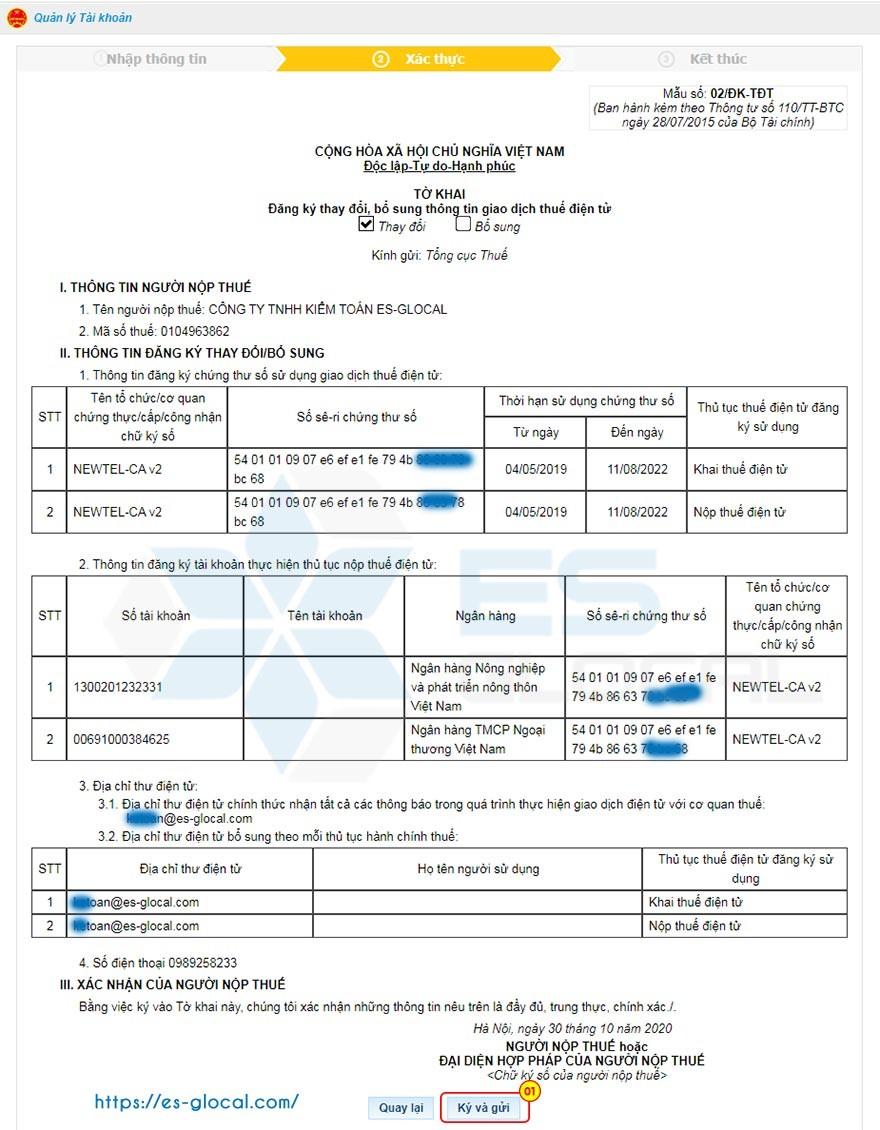 Ký và nộp tờ đăng ký thay đổi thông tin dịch vụ