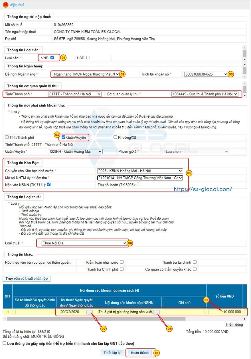 Lập giấy nộp tiền thuế điện tử qua mạng