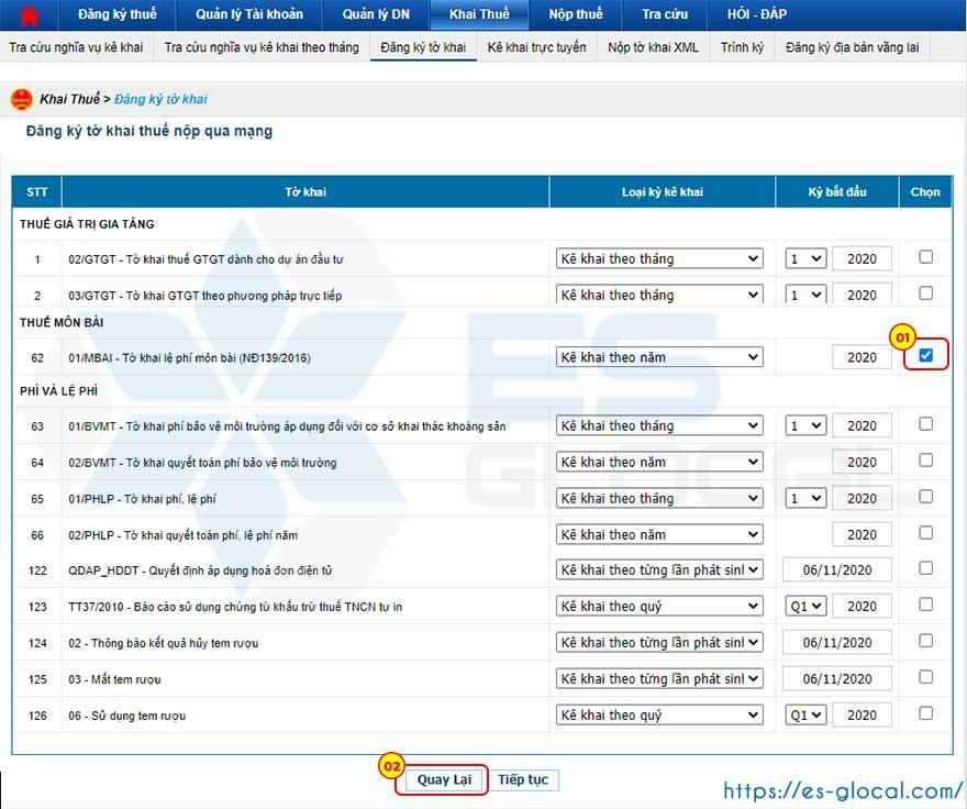 Tích chọn tờ khai đăng ký thuế môn bài
