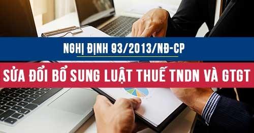 Nghị định 93/2013/NĐ-CP sửa đổi bổ sung luật thuế TNDN và thuế GTGT