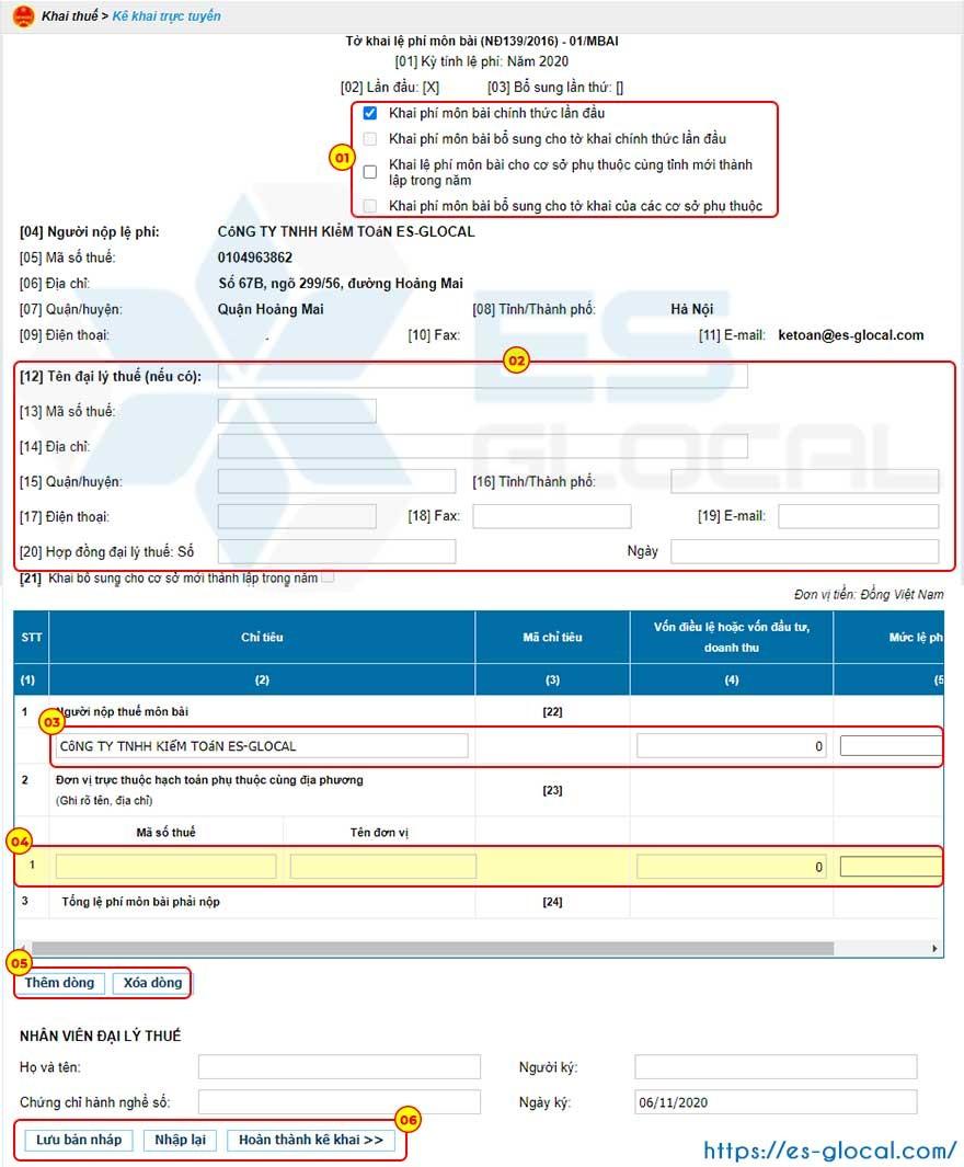 Nhập thông tin doanh nghiệp lên tờ khai thuế môn bài