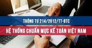 Thông tư 214/2012/TT-BTC Hệ thống chuẩn mực kiểm toán Việt Nam
