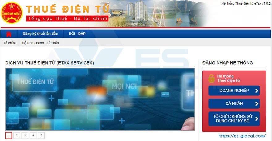 Truy cập vào hệ thống thuedientu.gdt.gov.vn của Tổng cục thuế