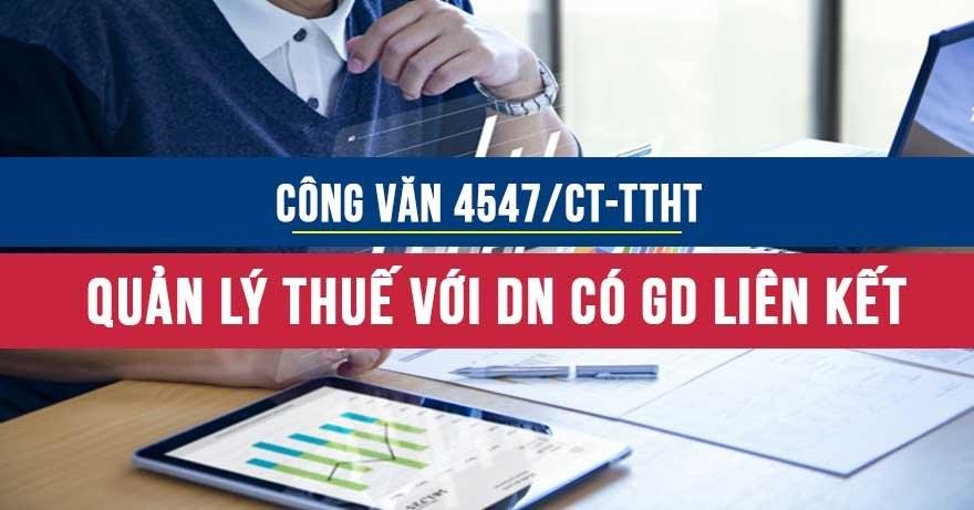 Công văn4547/CT-TTHTquản lý thuế đối với doanh nghiệp có giao dịch liên kết