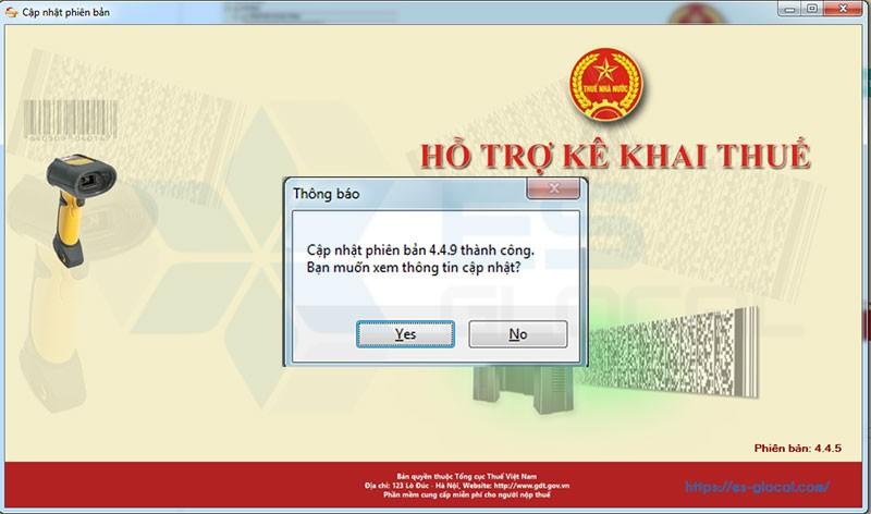 Cảnh báo cập nhật phiên bản HTKK 4.4.9 thành công