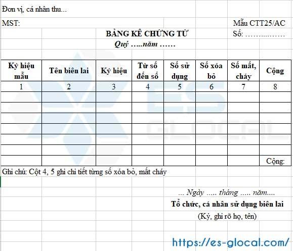 Mẫu CTT25/AC chứng từ khấu trừ thuế TNCN