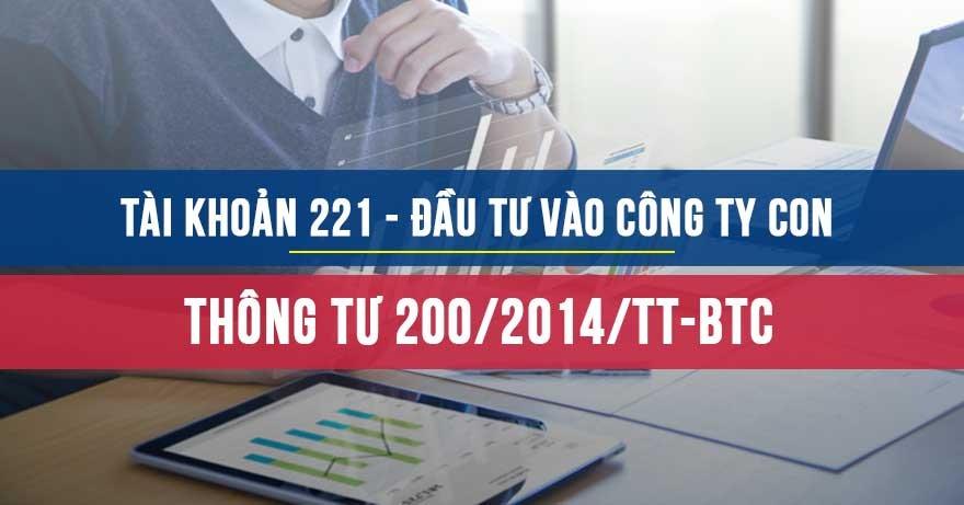 Tài khoản 221-Đầu tư vào công ty con