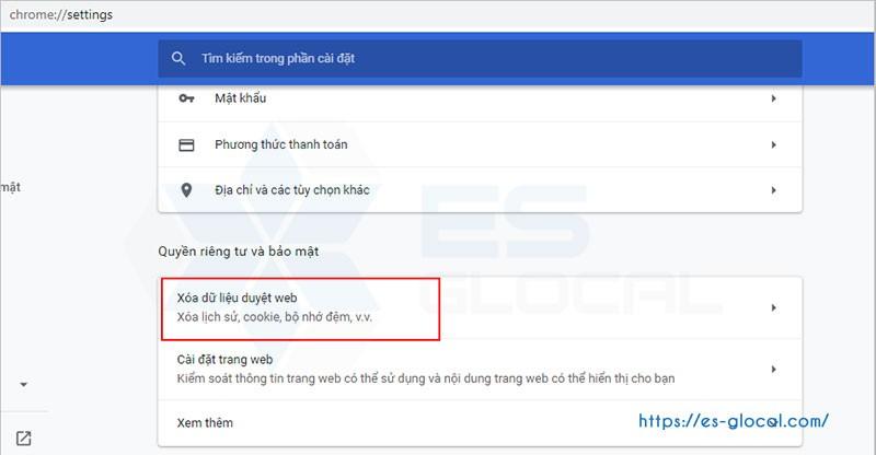 Xóa dữ liệu trình duyệt website làm thuedientu.gdt.gov.vn lỗi không đăng nhập