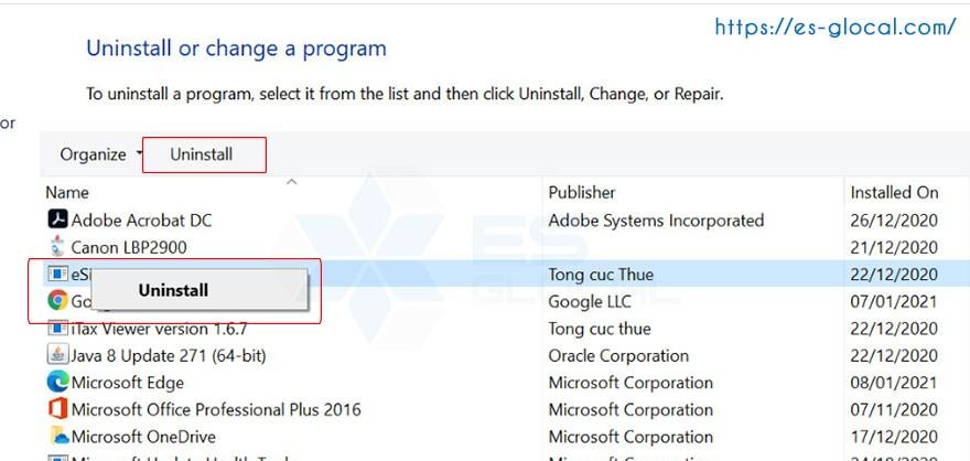 gỡ phần mềm trên Windows 10