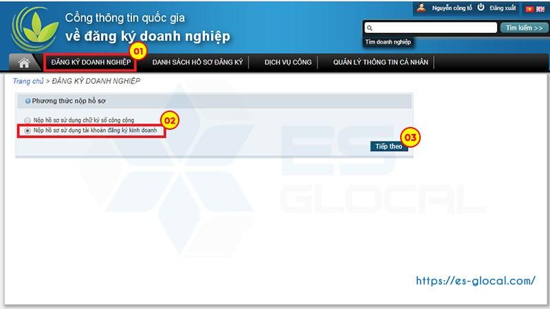 Nộp hồ sơ đăng ký tài khoản ngân hàng qua mạng