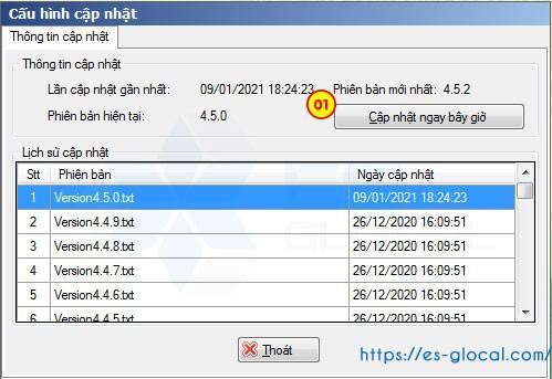 Lựa chọn phiên bản HTKK cập nhật, rồi ấn cập nhật ngay bây giờ