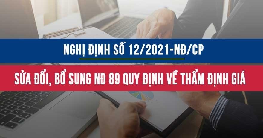 Nghị định 12/2021/NĐ-CP sửa đổi Nghị định 89/2013 Luật giá về thẩm định giá