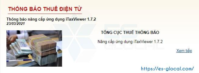 Thông báo nâng cấp phiên bản itaxviewer 1.7.2 của TCT