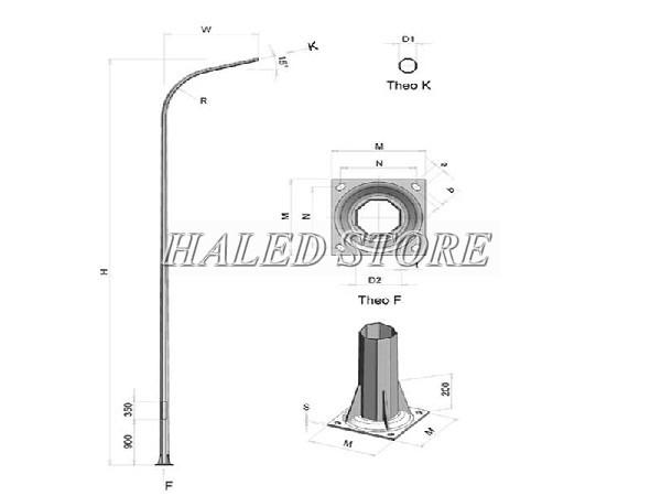 Cột đèn cao áp 7m bát giác liền cần đơn