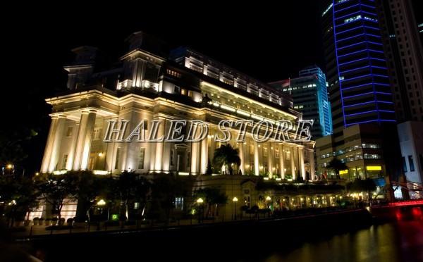 Đèn pha LED 80w HALEDCO ứng dụng chiếu hắt tòa nhà