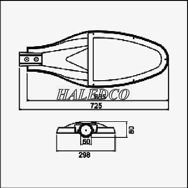 Bản vẽ đèn đường LED PRDA PSTL100L-100