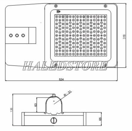 Bản vẽ đèn đường LED PRDA PSTM100L-100