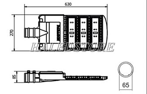 Bản vẽ đèn đường LED PRDA PSTP150L-150