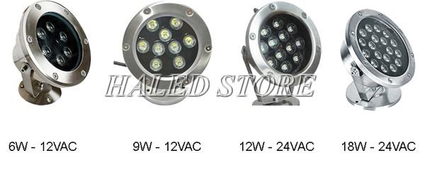 Các công suất đèn LED dưới nước phổ biến