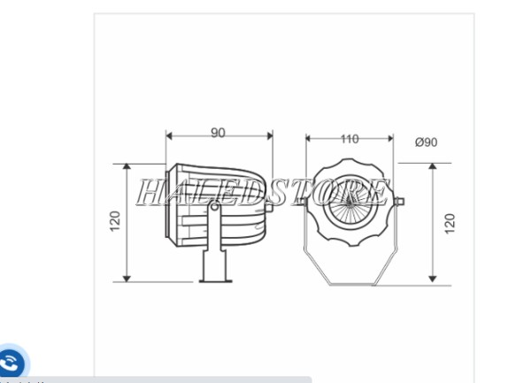 Bản vẽ đèn pha LED PRDA POLT565L-5