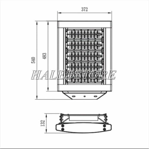 Bản vẽ đèn pha LED PRDA PHMA60065L-600