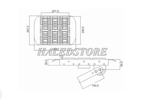 Bản vẽ đèn pha LED PRDA POFA150L-150