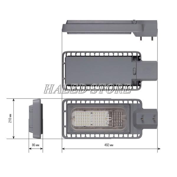 Kích thước của đèn đường LED HLDAS12-50