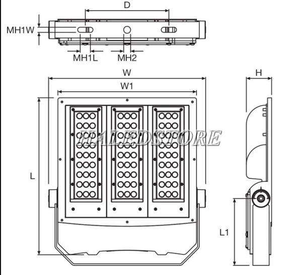 Bản vẽ đèn pha LED ORDA SIMPLITZ FL S-70