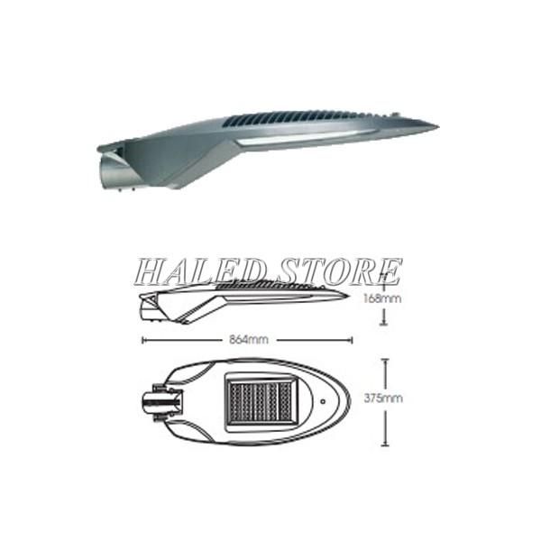 Bản vẽ kỹ thuật của đèn đường LED HLDAS21-150
