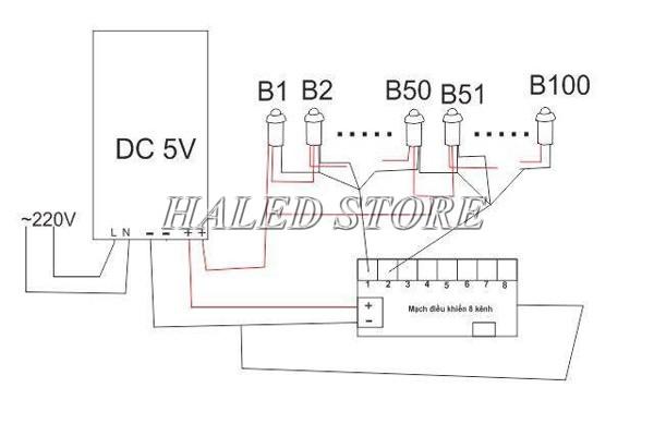 Sơ đồ đấu nối đèn LED 5V trang trí