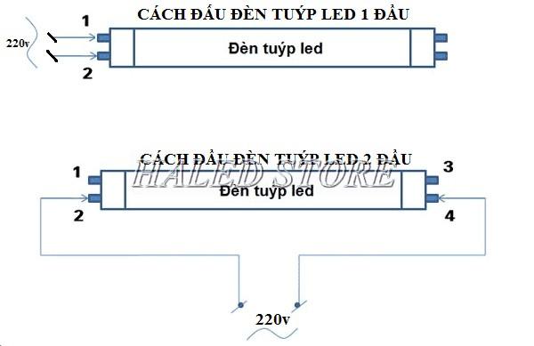 Sơ đồ đấu nối đèn tuýp LED Điện Quang