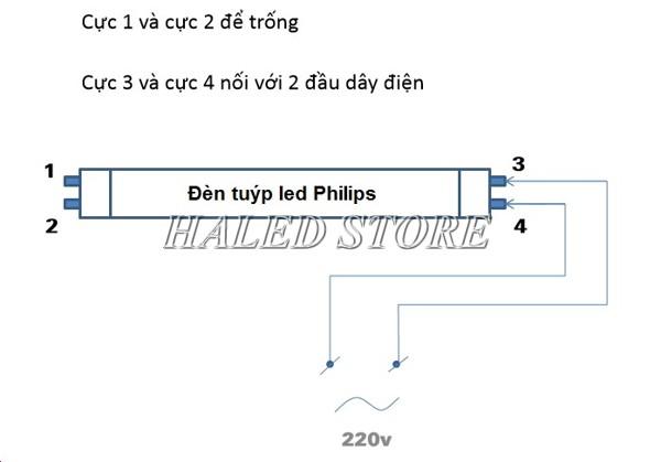 Sơ đồ đấu nối đèn tuýp LED Philips