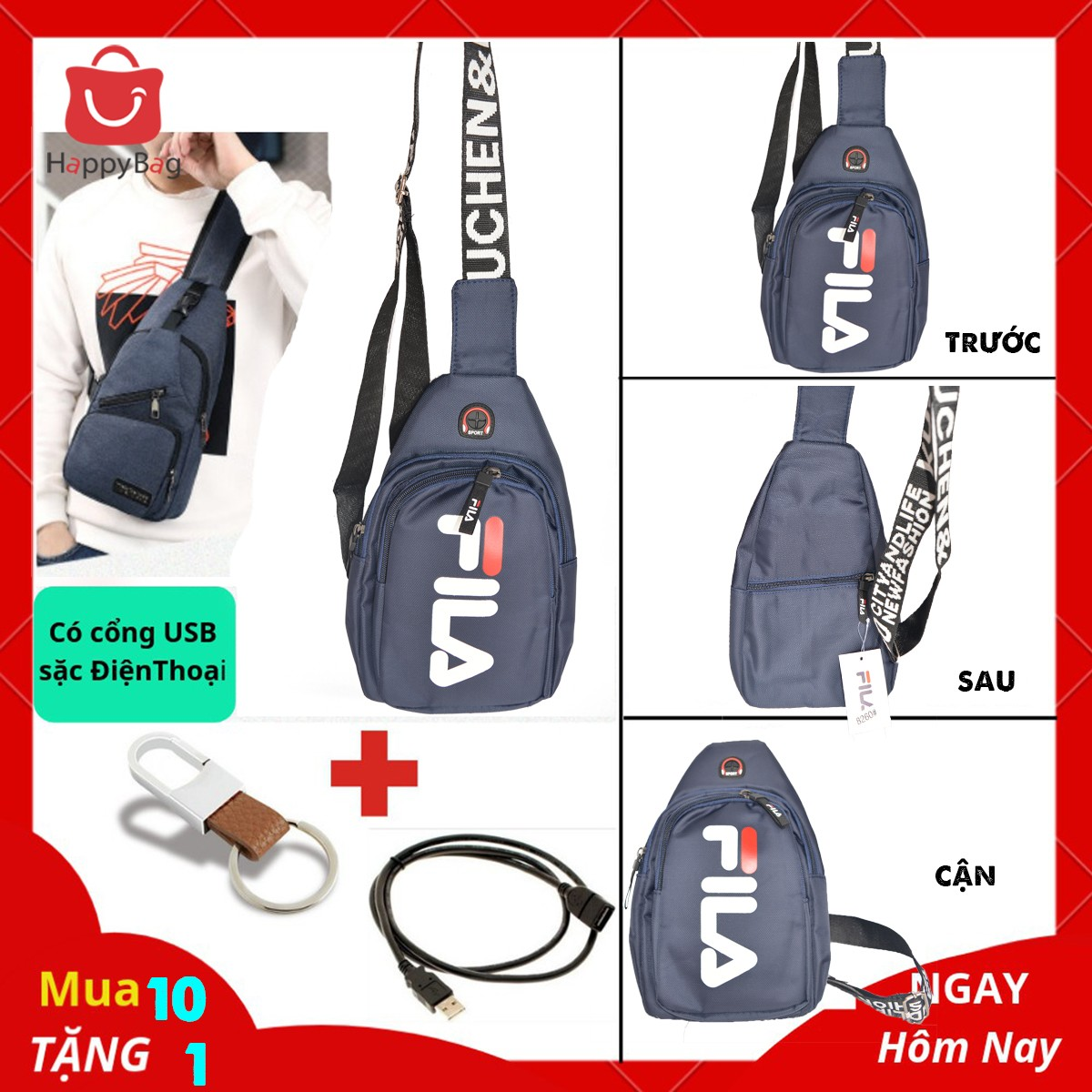 Túi Đeo Chéo Nam Cổng USB Sặc Điện Thoại Da Phối Vải Polyester Cao Cấp - Mã TD01