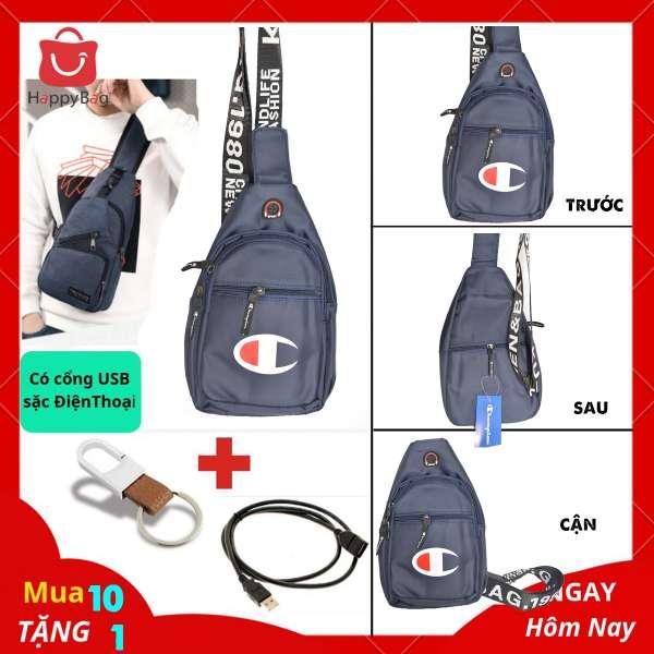 Túi Đeo Chéo Nam Cổng USB Sặc Điện Thoại Da Phối Vải Polyester Cao Cấp - Mã TD02