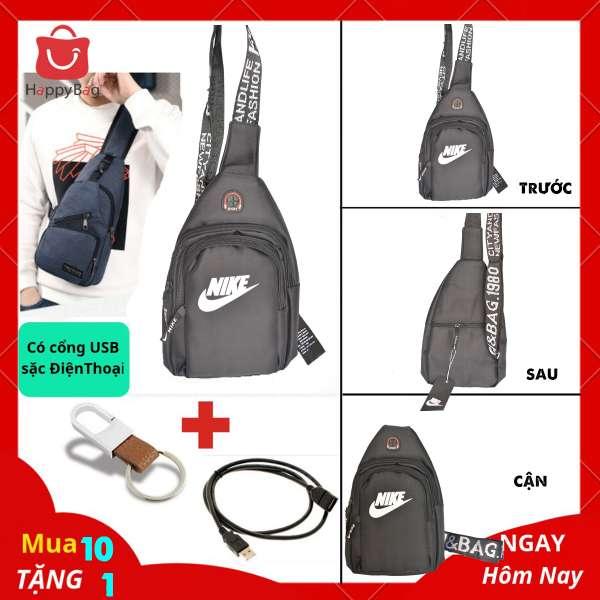Túi Đeo Chéo Nam Cổng USB Sặc Điện Thoại Da Phối Vải Polyester Cao Cấp - Mã TD03
