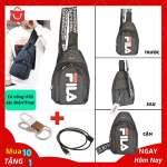 Túi Đeo Chéo Nam Cổng USB Sặc Điện Thoại Da Phối Vải Polyester Cao Cấp - Mã TD04