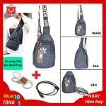 Túi Đeo Chéo Nam Cổng USB Sặc Điện Thoại Da Phối Vải Polyester Cao Cấp - Mã TD05