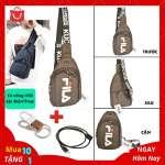 Túi Đeo Chéo Nam Cổng USB Sặc Điện Thoại Da Phối Vải Polyester Cao Cấp - Mã TD07