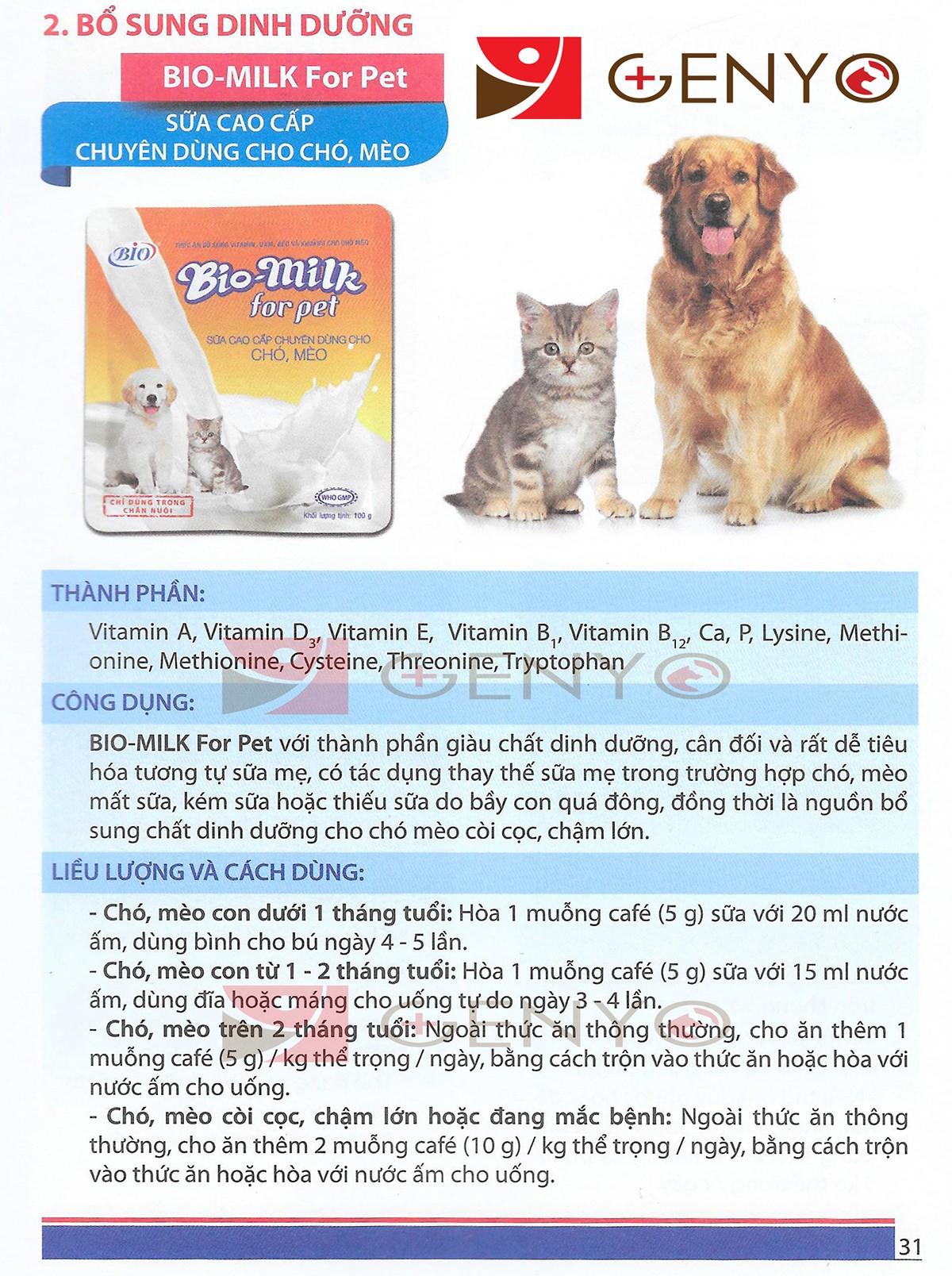 Bio Milk- Sữa cao cấp chuyên dùng cho chó, mèo
