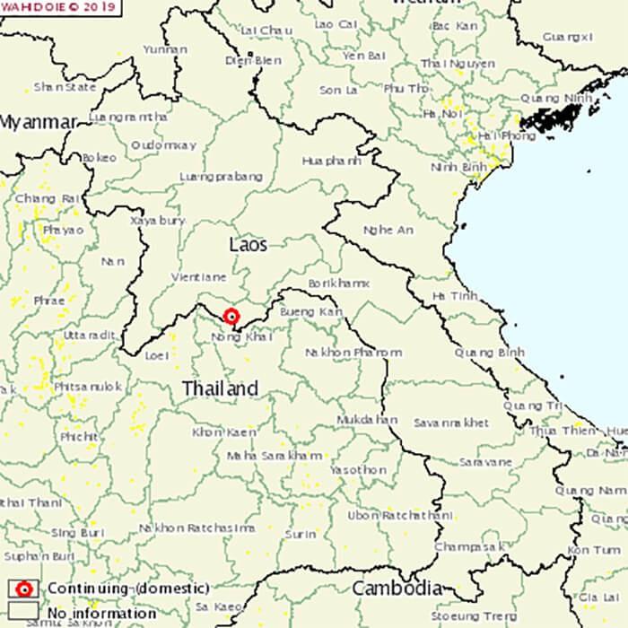 Vị trí ổ dịch tại Lào - Nguồn FAO