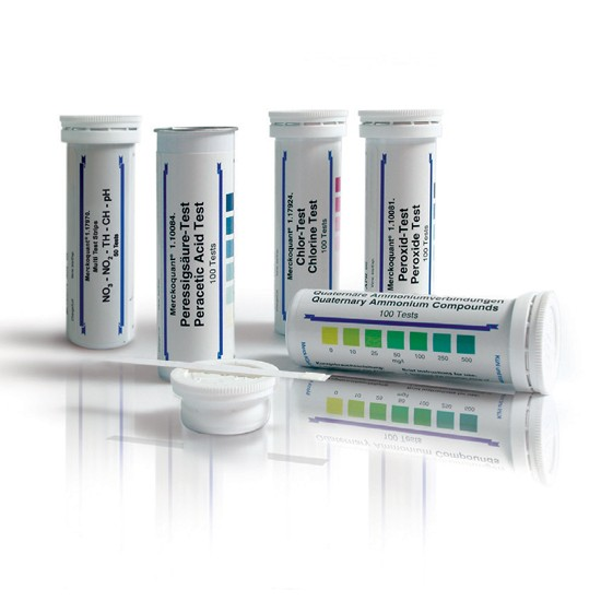 Peracetic Acid Test Method: colorimetric with test strips 5 - 10 - 20 - 30 - 50 mg/l MQuantTM