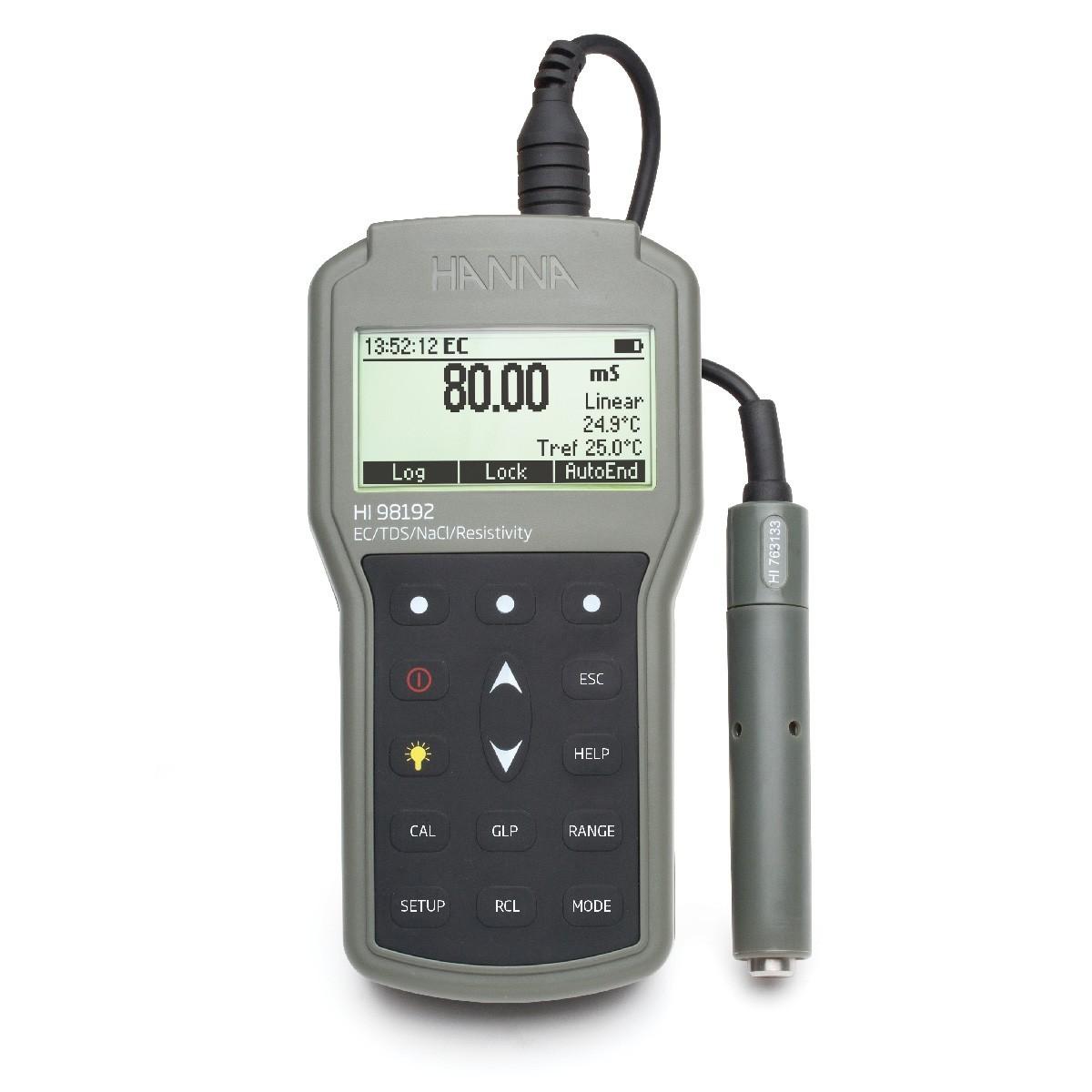 Máy đo EC/TDS/Trở kháng/Độ mặn/Nhiệt độ chống thấm nước HI98192 Hanna